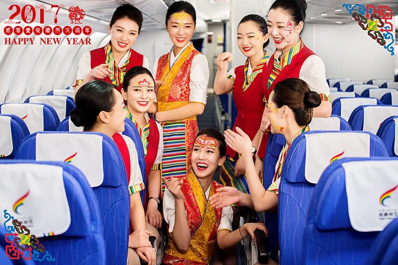 """西藏航空空姐真会玩!勾绘""""吉祥妆面""""迎藏历新年(组图)"""