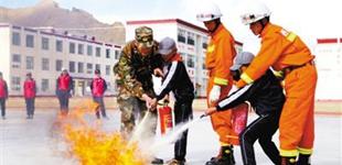 西藏:开学第一课 消防进校园